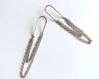 Arc Earrings 925 Sterling Silver, U Earrings with Double Chain, Long Silver Chains Tassel Earrings