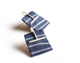 Indigo Earrings, Denim blue Polymer Clay Drop Earrings, 925 Sterling Silver Unique Post Earrings