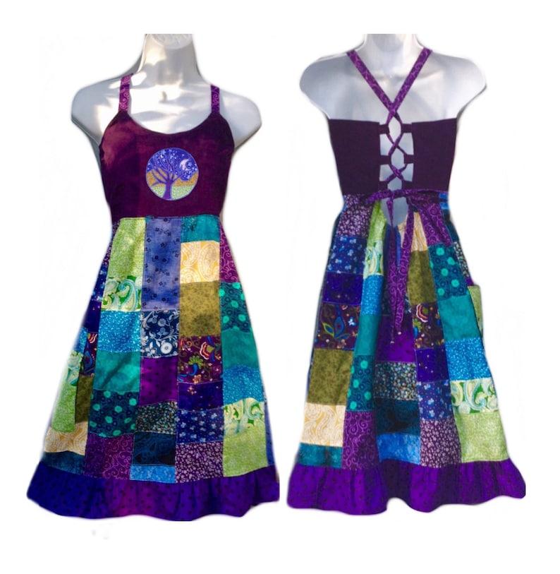 1f669d300fb Custom Patchwork Short Hippie Dress