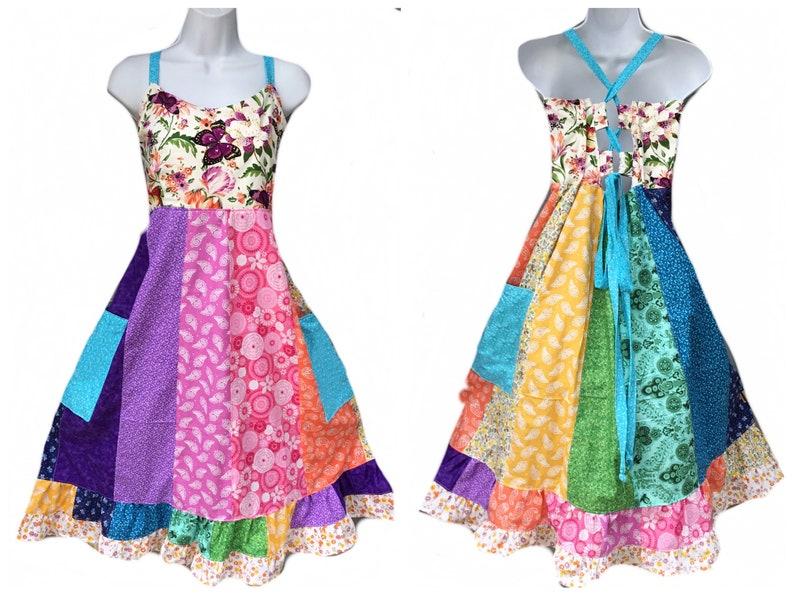 136996af6fd Custom Short Rainbow Hippie Dress