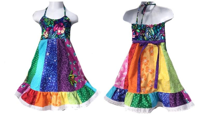 974d3849a6871 Girls Hippie Patchwork Dress, Rainbow
