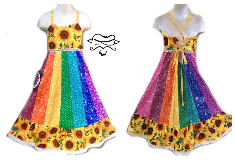 b2acd66397fb9 Girls Sunflower Rainbow Dress
