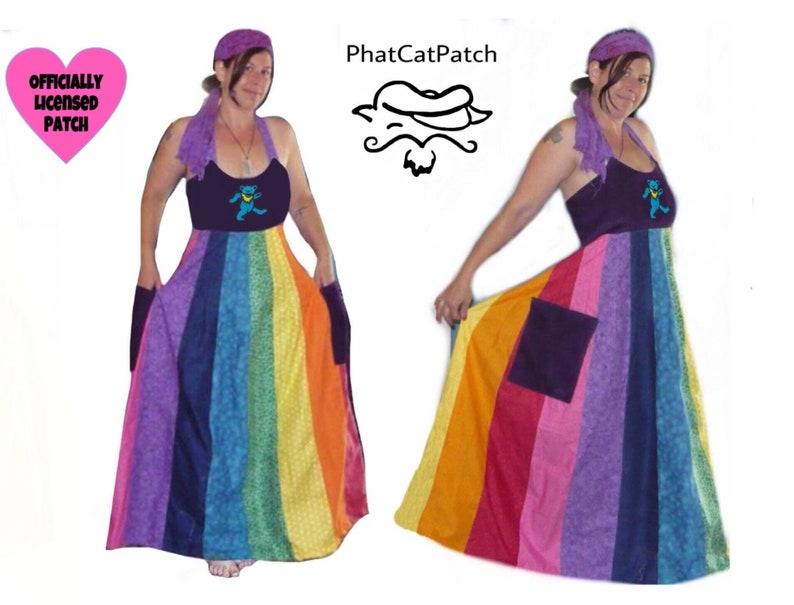 7861bc6b64e Custom Hippie Patchwork Rainbow dress