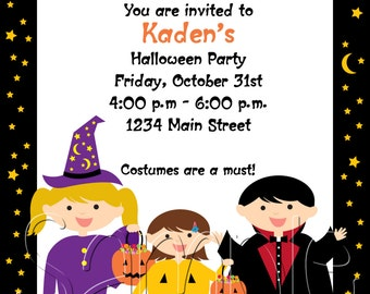 25 5x7 Halloween Costume Birthday Party Invitations