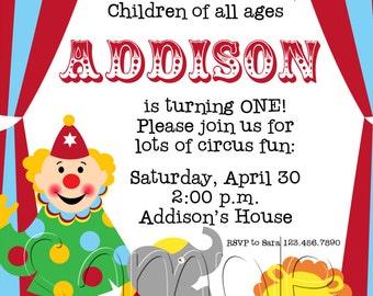 25 5x7 Circus Carnival Birthday Party Invitations