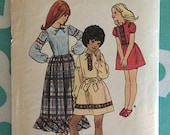 "1970s Butterick Girl's Dress Pattern 6319 Size 8 Bust 28"" - 1970s Butterick / 70s Butterick / 19 70s Sewing Pattern"