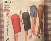 Maternity - Simplicity Vintage 1960s Skirt or Pants Pattern 6061 Waist 30, Hip 40 - INCOMPLETE