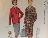 Vintage 1960 McCall's Coat Pattern #5548 Size 12, Bust 32  Vintage McCall's Pattern / 60s McCall's / Sewing Pattern /