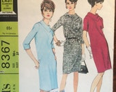 1960's Dress Pattern / Vintage Sewing Pattern / McCall's 8367 / Size 16.5 Bust 37 / Sheath Dress / Mod Dress / Bias Collar / French Darts