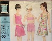 1960's Beachwear Pattern / Vintage Sewing Pattern / McCall's 8264 / Bra Pattern / Shorts Pattern / Coverup Pattern / Size 8 - 10 Bust 28 -29