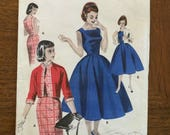 "Vintage 1950's Butterick Dress & Jacket Pattern #7648 - Size 13, Bust 31"" - 1950s Butterick / Square Neckline Dress / Full Dress Pattern"