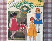 Cabbage Patch Kids / 1980s Girl's Dress Pattern / Butterick 3360 / Size 5 6 6x / Bust 24 25 25.5 - Jumper Pattern / Blouse Pattern