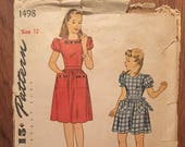 Vintage Sewing Pattern / 1940s Dress Pattern / Simplicity 1498 / Girl's Dress Pattern / Size 12 Breast 30 -INCOMPLETE - Mother Daughter