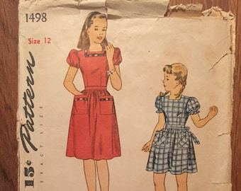 "Vintage 1940s Simplicity 1498 Girl's Dress Pattern 1498 Size 12 Breast 30"" - INCOMPLETE - NC - 40s Dress Pattern / 40s Girl's Pattern"