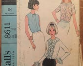 """Vintage 1960's McCall's Blouse in 3 Versions Pattern #8611 Size 10 Bust 31""""  60s Blouse Pattern / Ruffled Blouse Pattern / Peter Pan"""