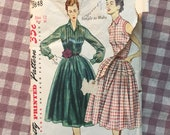 "Simplicity Dress Pattern Vintage 1950s #3848 Sz 12 Bust 30"" - Vintage Simplicity / 50s Simplicity / Peplum Dress / Pleated Bodice"