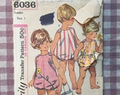 Toddler Romper Pattern / Vintage Sewing Pattern /  Toddler Sunsuit Pattern / Simplicity 6036 / Size 1 Bust 20 / 1960s Fashion