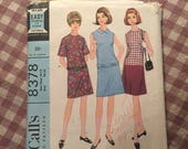 "Vintage 1960's McCall's Dress Pattern #8378 Size 10/21 Bust 30/32"" - 60s Blouse Pattern / Vintage Dress Pattern / Collared Dress"