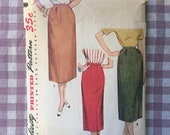 Vintage 1950's Simplicity One Yard Skirt Pattern 4607 - Waist 26 - Vintage Simplicity  / 50s Skirt Pattern / MIdi Skirt Pattern