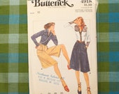 Vintage Sewing Pattern for Women / Culottes Pattern / Butterick 4918 / Waist 25 / 80s Blouse Pattern / 1980s Sewing Pattern / QUICK LIST