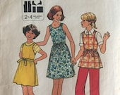 "1960s Simplicity Girl's Wrap Dress Blouse Pattern #8045 Size 7 & 8, Breast 26 27""   Vintage Simplicity / 60s Simplicity / Vintage Girl"