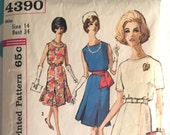 Vintage 1960s Simplicity Dress Pattern #4390 Size 14 Bust 34 - Vintage Simplicity / 60s Simplicity  Pleated Skirt