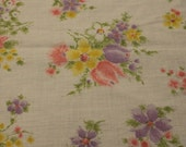 Vintage Fabric / 1970s Fabric / Floral Fabric / Cotton Poly -1 Yard- Pastel Floral / Pastel Fabric / Lightweight Fabric / Tulip Fabric