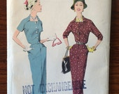 1950s Vintage Advance Dress and Jacket Pattern 8348 Size 18 Bust 38 - 1950s Advance / 50s Advance / 19 50s Sewing Pattern