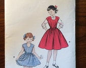 "Girl's Dress and Blouse Pattern Vintage 1950s Butterick #7001 Size 6, Breast 24"" - 1950s Butterick / 50s Butterick / 19"
