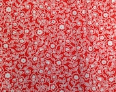 Red and White Printed Fabric -1 1/2 Yards- Cotton Fabric / Red and White Fabric / Circle Fabric / Red Fabric / Circle Print Cotton