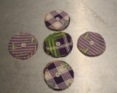 Vintage Yoyo's / Pre Cut Circles / Vintage Fabric / Approximately 5 Doz / Vintage Quilt Supplies / 1930s Fabric / Purple Green / Vintage 30s