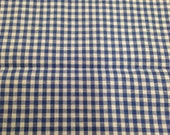 Vintage Cotton Gingham Fabric - 1/2 Yard - Gingham Yardage / Vintage Yardage / Blue Gingham / 1960s Fabric / Blue and White Gingham