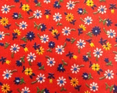Vintage Red Cotton Floral Fabric - 1 Yard / Vintage Fabric / Fabric Yardage / Red Blue Yellow White / Vintage Flowers / Daisy Print / Flower