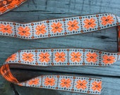 Flourescent Orange and Brown Vintage Embroidered Trim - 1 Yard - Vintage Sewing Supplies / Embroidered Trim / 1970s / Floral Trim