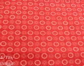 Red and White Printed Fabric -1 1/3 Yards- Cotton Fabric / Red and White Fabric / Circle Fabric / Red Fabric / Circle Print Cotton
