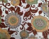 Vintage Floral Fabric - 1 Yard / 1960's Fabric / Floral Fabric /  Cotton Fabric / Brown Leaves / Unique Floral / Vintage Floral /