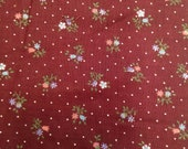 Vintage Burgundy Floral Calico Fabric - 1 Yard / Vintage Fabric / Small Print / Small Floral Print / Blue and Peach flowers / white dots