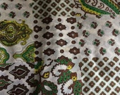 Vintage Fabric / 1970's Fabric / Paisley / Cotton Poly Voile Fabric -1 Yard- Green Brown Fabric / Faux Patchwork Fabric / Lightweight Fabric