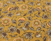 Vintage Fabric / Vintage Floral Fabric / 1950s Fabric -1 Yard- Cotton Fabric / Flower Fabric / Avocado Green Fabric / Narrow Fabric