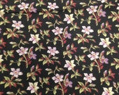 Vintage Black White Lilac Floral Fabric  - 1 3/4 Yards / Vintage Black & White Fabric / Floral Yardage / Leaf Print / Black White Floral