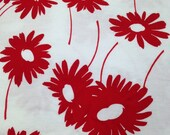 Red Floral Print Pique Fabric - 1 7/8 Yards - Vintage / Red White Pique / Floral pique / Pique Fabric / Cotton Pique