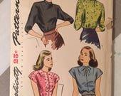 "Vintage 1940s Simplicity 1403 Size 12 Bust 30"" - Vintage Simplicity / 40s Simplicity / 40s Pattern / 40s Blouse / Vintage Blouse"
