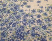 Vintage Cotton Plisse Floral Border Fabric - 1 Yard / Blue and White / Cotton Floral Fabric / Lightweight Fabric / Blue Flowers / Green Leaf