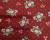 Vintage Calico Gunne Sax Fabric -  1 1/8 Yards / Burgundy Pink Blue Floral / Wamsutta OTC Div of Lowenstein  Corp / Vintage Calico / Floral