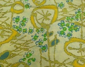 Vintage Fabric / Floral Fabric / Cotton Fabric - 1 Yard / Abstract Floral / 1960s Fabric / Green Yellow Blue / Mid Century Fabric / MCM