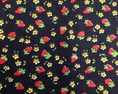 Strawberry Print Fabric - 1 Yard - Strawberry Fabric / Fruit Print / Floral Fabric / Red and Black / Strawberry Cotton / Black Strawberry