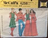 Vintage Sewing Pattern / Wrap Blouse Pattern / 1970s McCall's 4258 / Wrap Vest Pattern / Size 12 Bust 34 / Maxi Skirt Pattern / Peplum