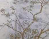 Vintage Waverly Sheer Poly-Blend Fabric / White Metallic / Mid Century / Large Floral / Birdcage Print/ Asian Design / Gold Metallic
