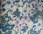 Vintage Fabric / Paisley Fabric / Mosaic Fabric / Floral Fabric / 1 Yard/ Cotton Fabric / 1950s Fabric / Green Purple Teal / Shirting Weight