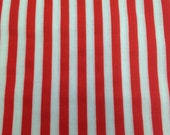 Red and White Stripe Fabric / Cotton Fabric -1 1/4 Yards- Stripes / Cotton Stripe / Red White / Striped Fabric / Candy Stripe
